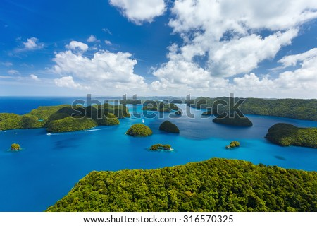 Beautiful view of Palau tropical islands and Pacific ocean from above - stock photo