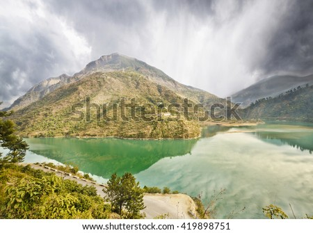 Beautiful view of panchen dam on the way to manali - stock photo