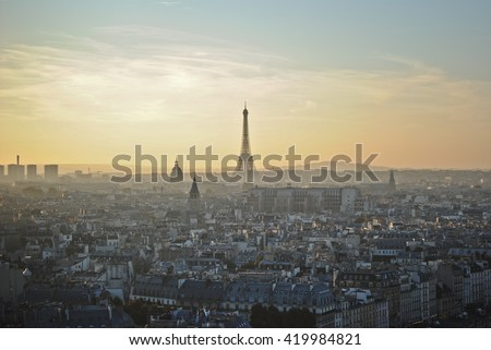 Beautiful view of Paris and the Eiffel Tower