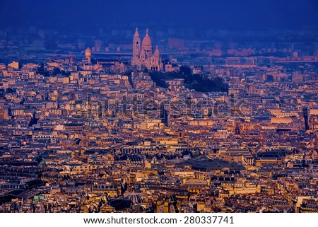Beautiful view of Paris, France,at sunset - stock photo
