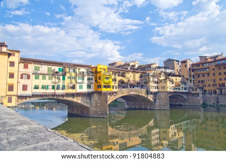 Beautiful view of Ponte Vecchio, at Florence, Italy - stock photo