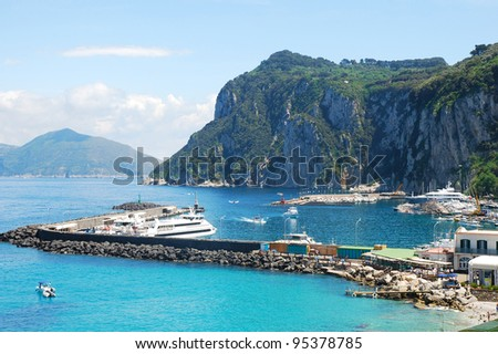 Beautiful view of port of Capri island - stock photo