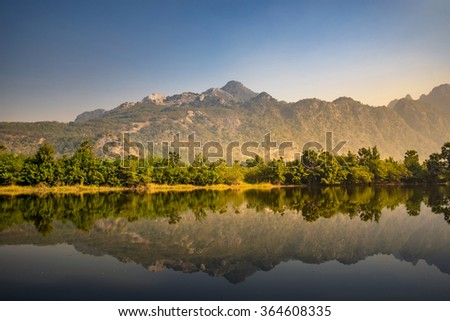 beautiful view of reflection mountain in lake