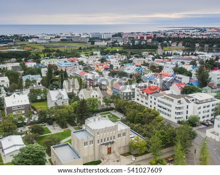Beautiful view of Reykjavik, Capital of Iceland from the top