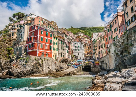 Beautiful view of Riomaggiore, one of the five famous fisherman villages of Cinque Terre in Liguria, Italy - stock photo