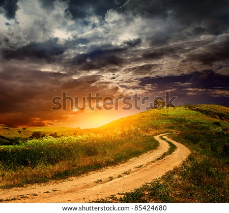 Beautiful view of Russian country road - stock photo