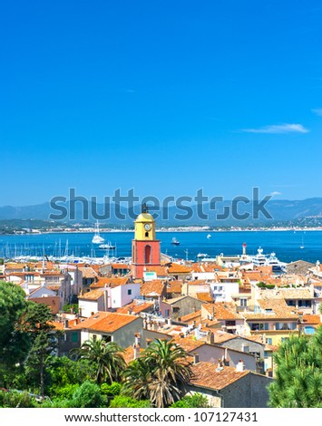 Beautiful view of Saint-Tropez with seascape and blue sky. France, french riviera