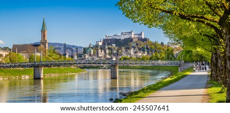 Beautiful view of Salzburg skyline with Festung Hohensalzburg and Salzach river in summer, Salzburg, Salzburger Land, Austria - stock photo