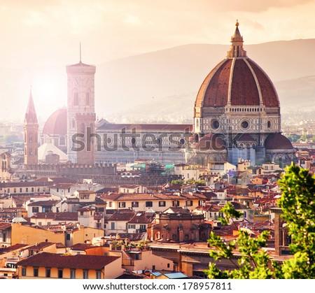 Beautiful view of Santa Maria del Fiore, florence, Italy - stock photo