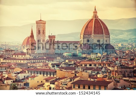 Beautiful view of Santa Maria del Fiore in sunset, Florence, Italy - stock photo
