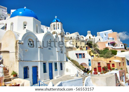 beautiful view of Santorini - stock photo