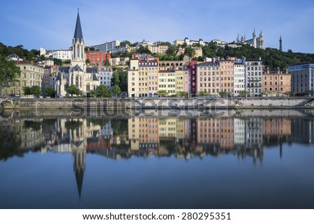 Beautiful view of Saone river in Lyon, France - stock photo