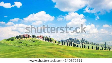 Beautiful view of scenic Tuscany landscape in Val d'Orcia, Italy - stock photo
