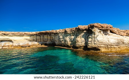 beautiful view of sea caves not far from Ayia Napa, Cape Greco, Cyprus - stock photo