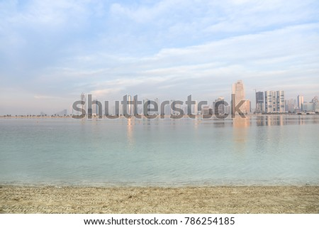 Beautiful view of Sharjah Skyscraper from Al Mamzar Beach Dubai