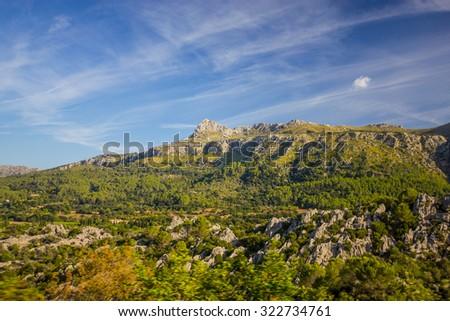 Beautiful view of Sierra de Tramuntana, Mallorca, Spain - stock photo