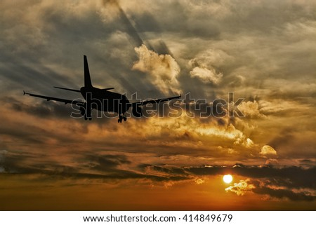 Beautiful view of silhouette of airplane.