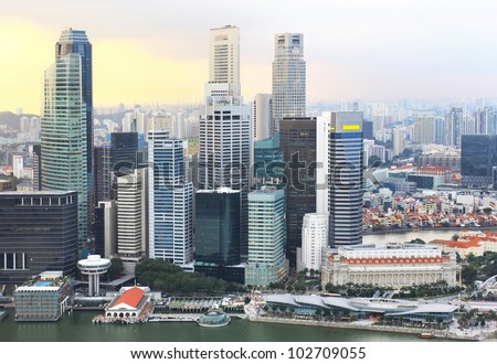 beautiful view of singapore city in the evening - stock photo