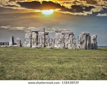 Beautiful view of Stonehenge site. - stock photo