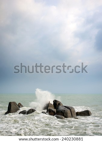 Beautiful View of stormy seascape - stock photo