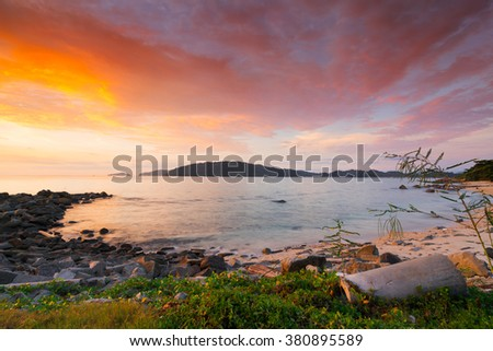 Beautiful view of sunset scenic over the beach in Borneo. - stock photo