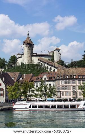 Beautiful View of Swiss Town Schaffhausen - stock photo