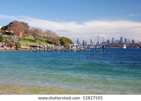 Beautiful view of Sydney from Lady Bay (Watson) - stock photo