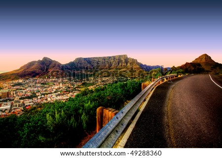 Beautiful view of Table Mountain in Cape Town from Signal Hill. - stock photo