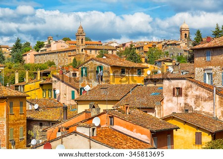 Beautiful view of the ancient city of Perugia. Umbria, Italy - stock photo