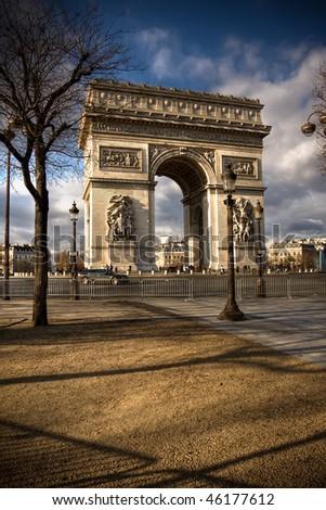 Beautiful view of the Arc de Triomphe, Paris - stock photo