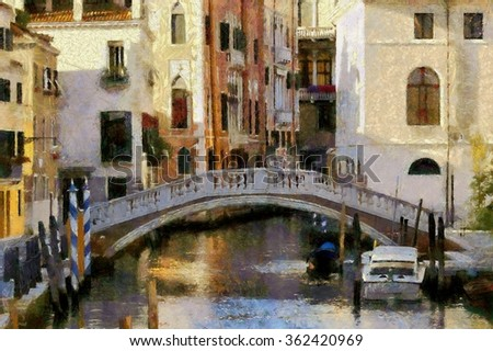 Beautiful view of the arched bridge in Venice, Italy. Art style