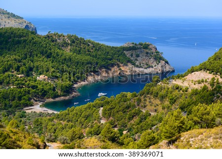 Beautiful view of the bay of Cala Tuent. Majorca. Balearic Islands. Spain - stock photo