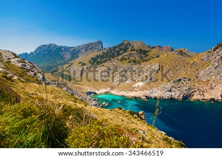 beautiful view of the beach Cala Figuera among hills in cape Formentor, Mallorca, Spain - stock photo