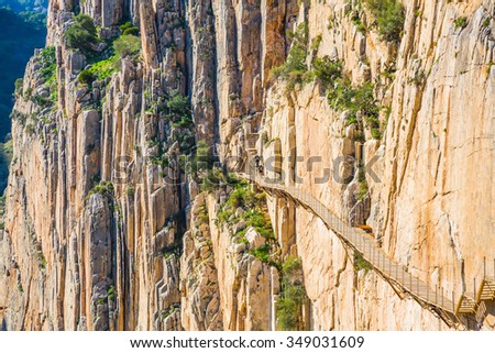 Beautiful view of the Caminito Del Rey mountain path along steep cliffs and an enormous heights  - stock photo