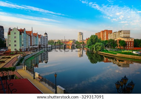 Beautiful view of the center of Kaliningrad and Pregolya River, Russia, Europe - stock photo