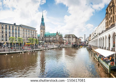 Beautiful view of the city center of Hamburg, Germany - stock photo