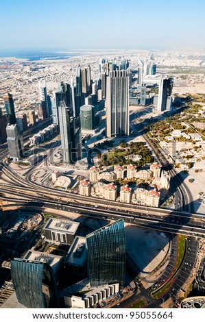 beautiful view of the city of Dubai, 500 meters - stock photo