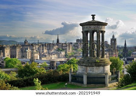 Beautiful view of the city of Edinburgh in the summer evening with vintage filter - stock photo