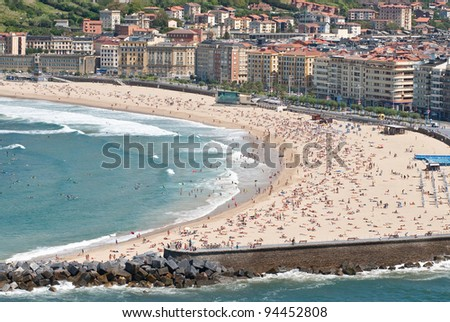 Beautiful view of the city San Sebastian and a beach in Spain. - stock photo