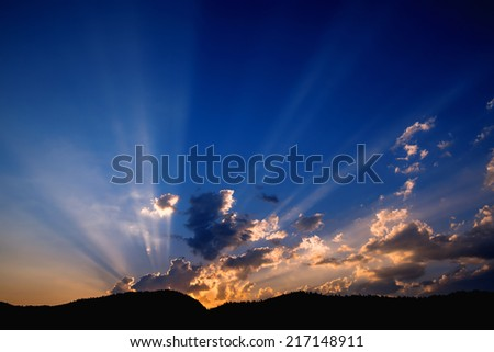 Beautiful View of the Clouds at Sunset - stock photo