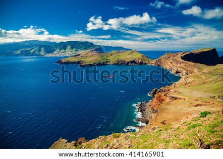 beautiful view of the coastline at the Ponta de Sao Lourenco, the eastern part of Madeira, Portugal