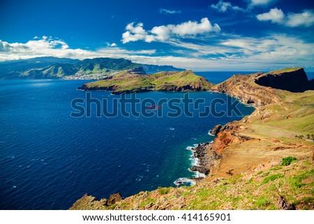 beautiful view of the coastline at the Ponta de Sao Lourenco, the eastern part of Madeira, Portugal - stock photo
