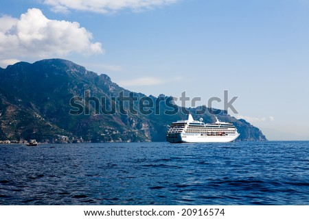 Beautiful view of the Costiera Amalfitana in Southern Italy - stock photo