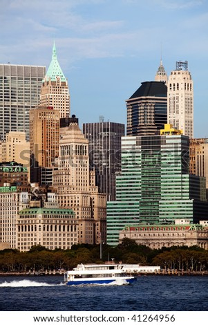 Beautiful view of the Downtown Manhattan - stock photo