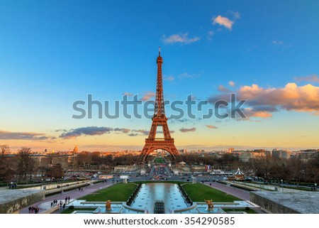 Beautiful view of the Eiffel tower in Paris, France, at sunset - stock photo
