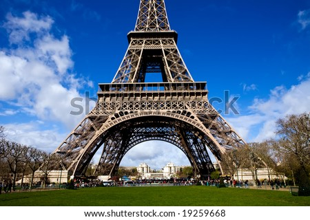 Beautiful view of The Eiffel Tower in Paris on a sunny day - stock photo
