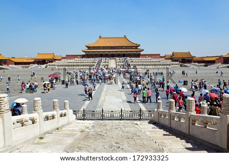 Beautiful view of the Forbidden City in Beijing, China - stock photo