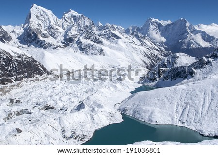 beautiful view of the Himalayas from Gokyo Ri  - stock photo