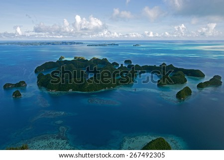 Beautiful view of the 70 islands in Palau from above - new 7 wonders of the world - stock photo
