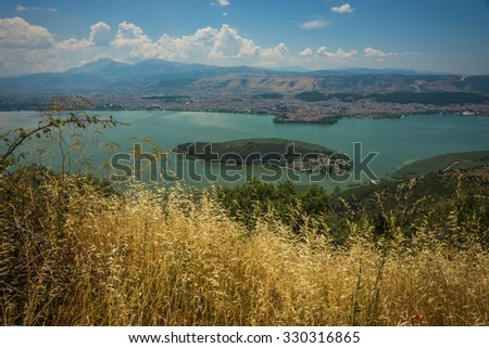 Beautiful  view of the lake from the mountain, Ioannina, Greece